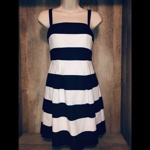 Loft black and white stripe linen dress